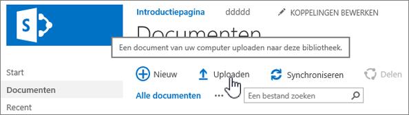 Documentbibliotheek met de knop uploaden gemarkeerd