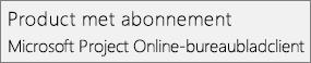 Schermafbeelding van de naam van het abonnementsproduct. Microsoft Project Online-desktopclient, zoals weergegeven in de sectie Bestand > Account van Project.