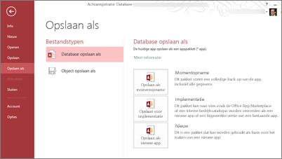 Opties voor het opslaan van een database op het scherm Opslaan als