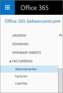 Koppeling naar de pagina Abonnementen in Office 365 voor Professionals en Kleine Bedrijven Premium.