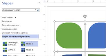 Lijst met beschikbare shapes in de linkerhelft van de afbeelding en de geselecteerde shape in de rechterhelft