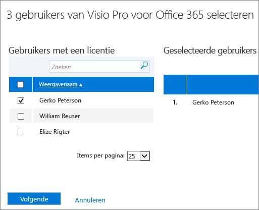 Gebruikers selecteren van wie u licenties wilt verwijderen.