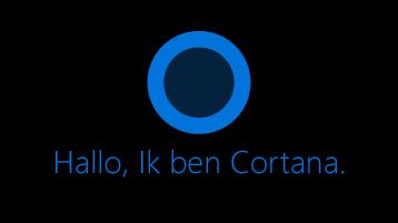 """Het Cortana-pictogram zoals weergegeven op het scherm met de woorden """"Hallo. Ik ben Cortana """"onder het pictogram."""