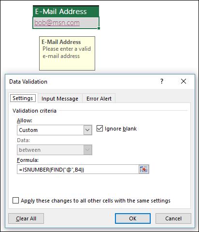 Voorbeeld van gegevensvalidatie om ervoor zorgen dat een e-mailadres het @-symbool bevat