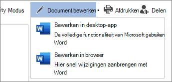 Selecteer Bewerken in Browser om te bewerken in Word Web App