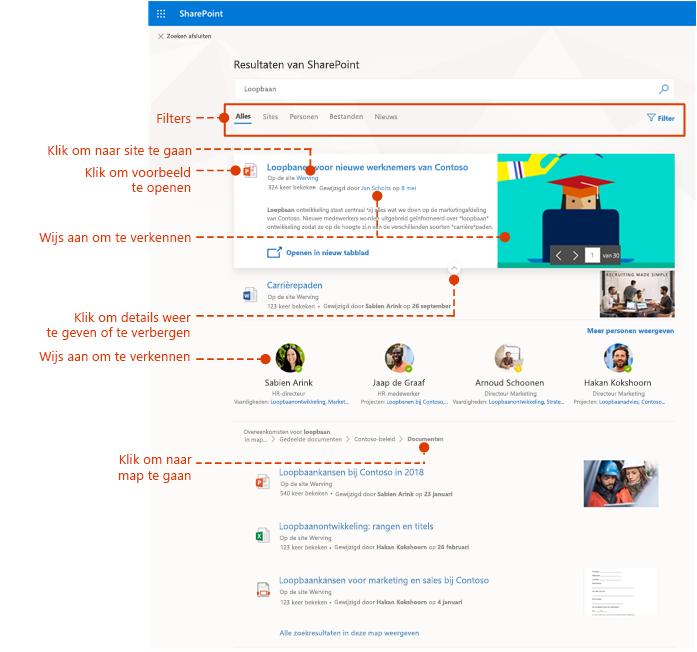 Schermafbeelding van de pagina met zoekresultaten