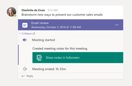 Vergaderings notities in een chat sessie
