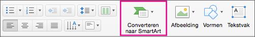 Converteren naar SmartArt in PowerPoint voor Mac