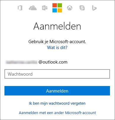 Schermafbeelding van het aanmeldingsscherm voor het Microsoft-account