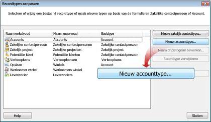 Klik op Nieuw accounttype