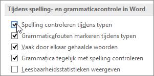 Het selectievakje Spelling controleren tijdens typen