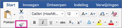 Op het tabblad Start is de optie De opmaak op een locatie kopiëren en deze op een andere locatie toepassen gemarkeerd.