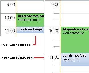 Voorbeeld van agendarasters met tijdsintervallen van 30 en 15 minuten