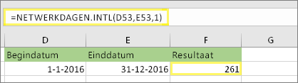 = NETTO. werk dagen. INTL (D53, E53, 1) en resultaat: 261