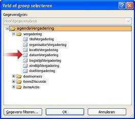 Het veld Vergaderdatum selecteren in het dialoogvenster Veld of groep selecteren