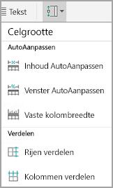 Celgrootte in tabellen in Android