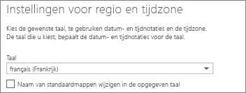 Uw Outlook Web App-taal instellen en bepalen of u de mappen een andere naam wilt geven