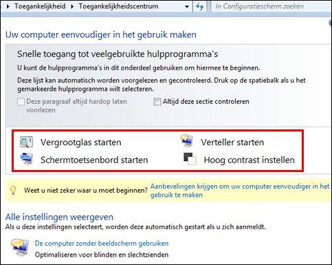 Dialoogvenster Windows Toegankelijkheidscentrum, waarin u ondersteunende technologieën kunt kiezen