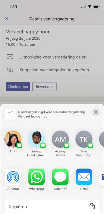 Vergaderingsgegevens - mobiele schermafbeelding