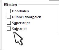 Superscript of subscript kiezen