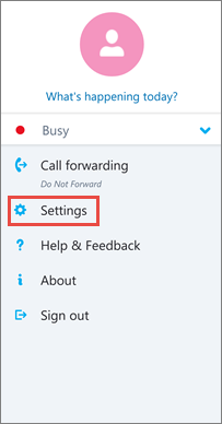 Scherm met opties in Skype voor Bedrijven voor Android