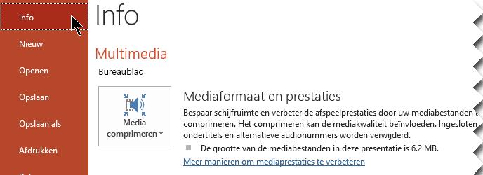 Klik op Media comprimeren
