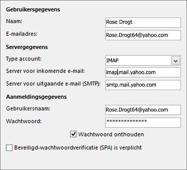 Uw servergegevens voor Yahoo invoeren