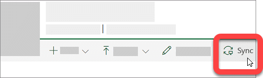 Schermafbeelding met de knop Synchroniseren in een SharePoint-bibliotheek.