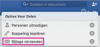 Als u uw document als een bijlage bij een e-mailbericht wilt verzenden, klikt u op Bijlage verzenden.