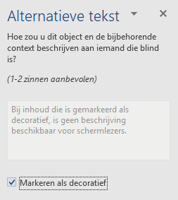 Deelvenster Word Win32 alternatieve tekst voor de decoratieve elementen