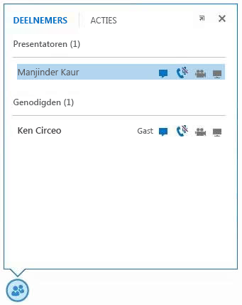 schermafbeelding van de pictogrammen naast de naam van een deelnemer die aangeven wat de mogelijkheden van die persoon zijn met betrekking tot chatten, audio, video en delen
