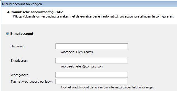Naam en e-mailadres toevoegen in Outlook 2010
