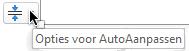 Het hulpmiddel opties voor AutoAanpassen wordt weergegeven als een tijdelijke aanduiding voor tekst is gevuld