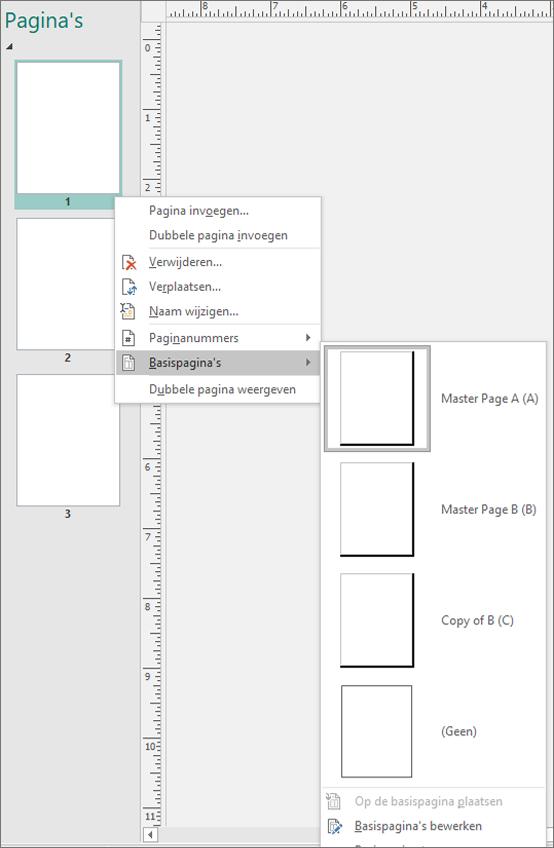 Een schermafbeelding ziet u de snelkoppeling menuoptie geselecteerd voor basispagina's met de beschikbare opties op de basispagina.