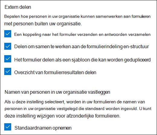 Samenwerkingsinstelling van Microsoft Forms