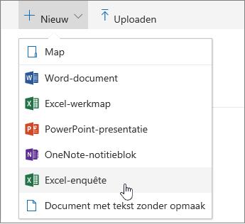 Menu Nieuw, opdracht Excel-enquête