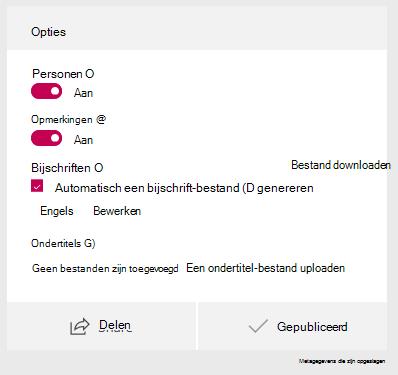 Selecteer in het venster Opties voor automatisch genereren een bijschrift-bestand