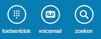 Gebruik de pictogrammen onder aan het scherm om het toetsenblok weer te geven, voicemail te controleren of contactpersonen te zoeken