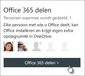 Schermafbeelding van de sectie Office 365 delen op de pagina Mijn account waarin te zien is dat het abonnement met één persoon is gedeeld.