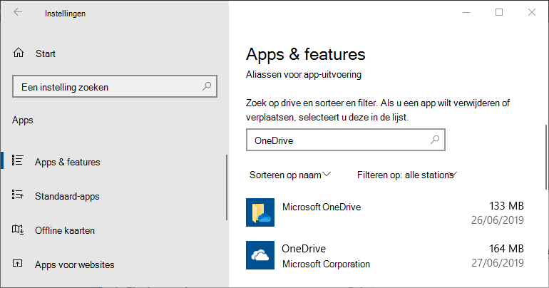 OneDrive in de Windows-instellingen voor apps