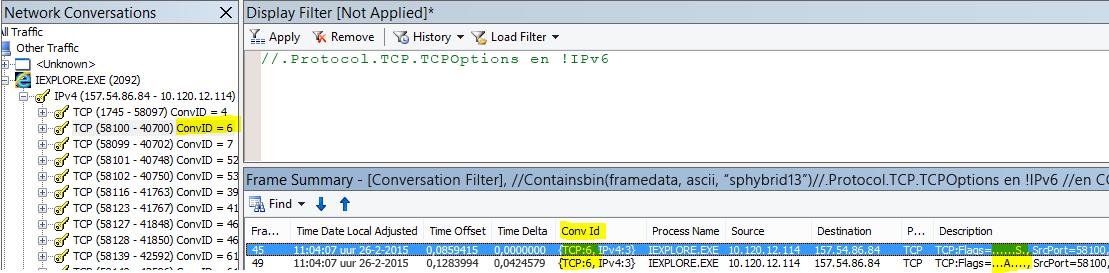 Filteren op gesprek. Klik met de rechtermuisknop op het SYN-frame en klik op Gesprekken zoeken, TCP.