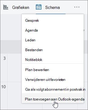 Schermafbeelding van teamplanner menu met abonnement toevoegen aan Outlook-agenda is geselecteerd.