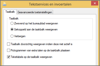 Office 2016 Windows 8 Tekstservices en invoertalen