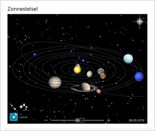 Een kaart van het zonnestelsel in Bing