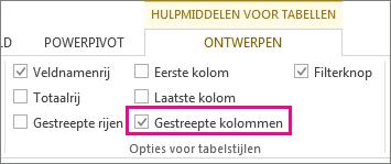 Het vak Gestreepte kolommen op het tabblad Ontwerpen in Hulpmiddelen voor tabellen