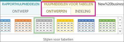 Groep Tabelstijlen op het tabblad Hulpmiddelen voor tabellen - Ontwerpen