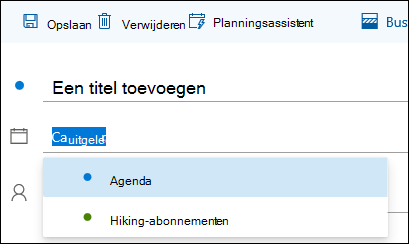 Een schermafbeelding van de naam van de agenda in het formulier met gegevens over de gebeurtenis