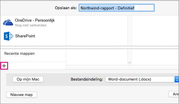Als u een onlineservice wilt toevoegen, klikt u op het plusteken onderaan in de linkerkolom in het dialoogvenster Opslaan als.