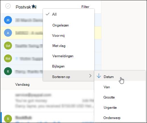 Een schermafbeelding van het menu Filter met 'Sorteren op' geselecteerd