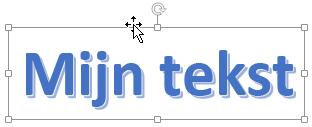 WordArt met een cursor in de vorm van een pijl met vier punten